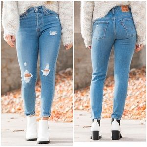Levi's high rise wedgie distressed skinny jeans 28